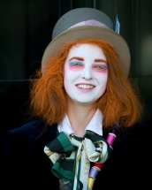 Mad Hatter asking for money for cancer in front of Neman Marcus, Bury St Edmunds
